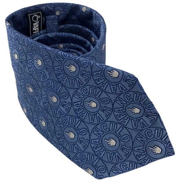 Cravatta celeste Vaffanculo 100% seta