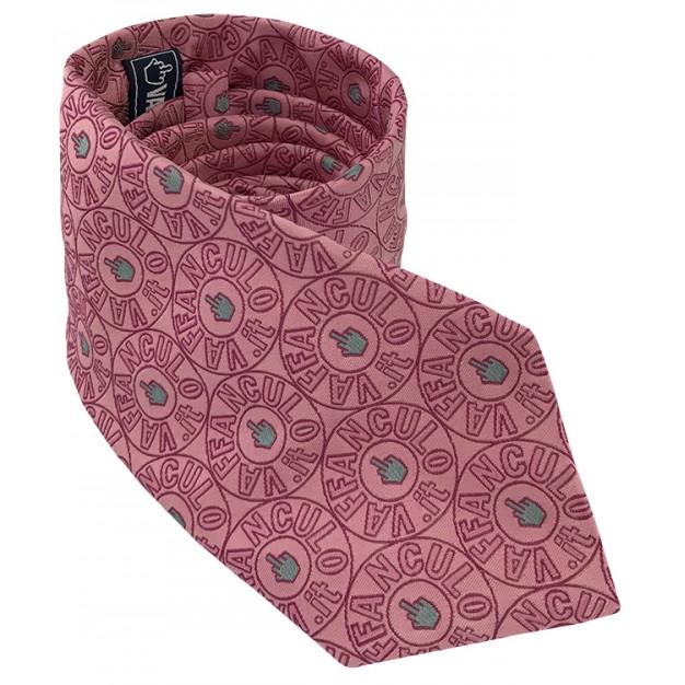 Cravatta rosa Vaffanculo 100% seta