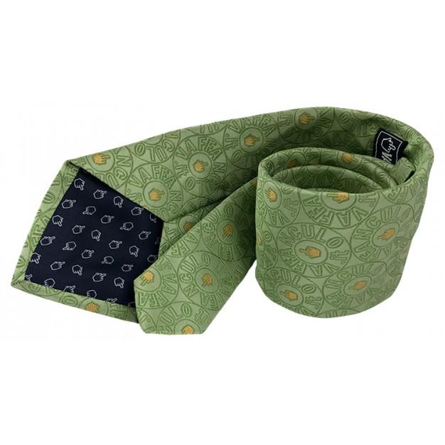 Cravatta verde Vaffanculo 100% seta